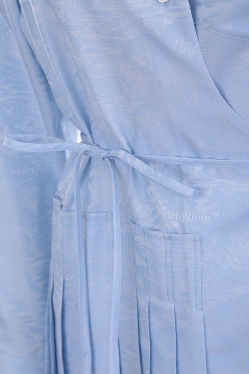 OFF WHITE: jacquard cotton shirt dress Color Blue_4