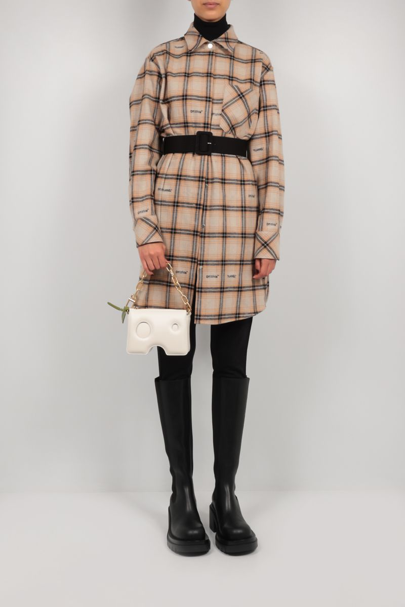 OFF WHITE: check flannel shirt dress Color Neutral_2