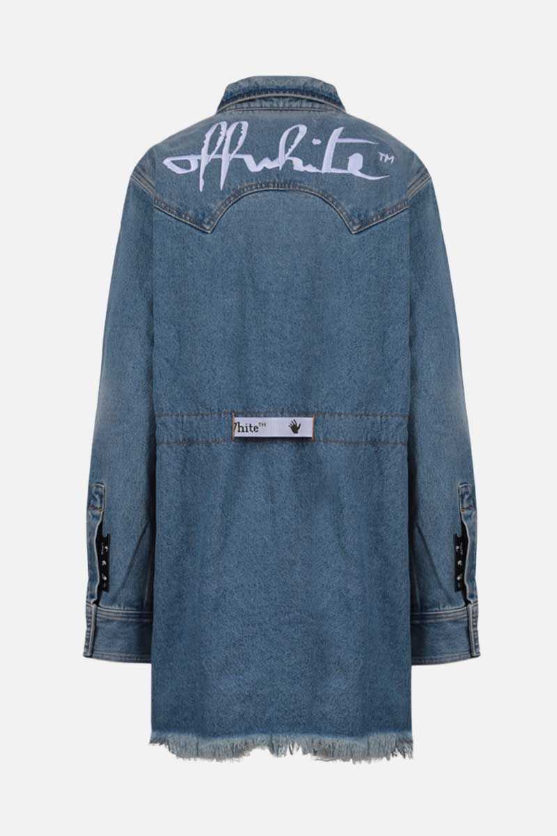 OFF WHITE: abito corto in denim ricamo logo Colore Blu_2