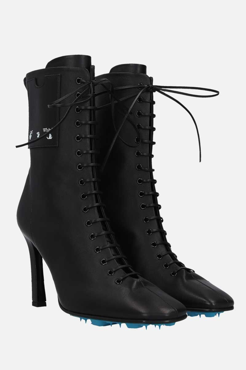 OFF WHITE: smooth leather lace-up booties Color Black_2