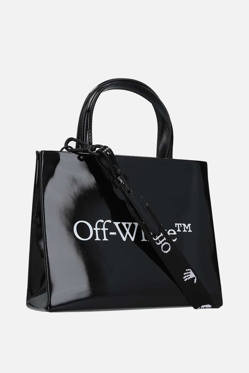 OFF WHITE: borsa a mano Box mini in vernice Colore Nero_2