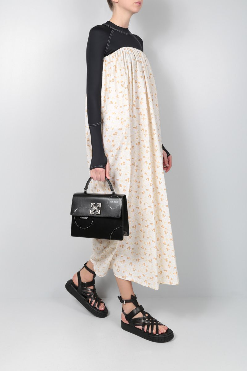 OFF WHITE: Jitney 2.8 shiny leather top handle bag Color Black_2