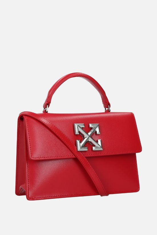 OFF WHITE: Jitney 1.4 smooth leather handbag Color Red_2