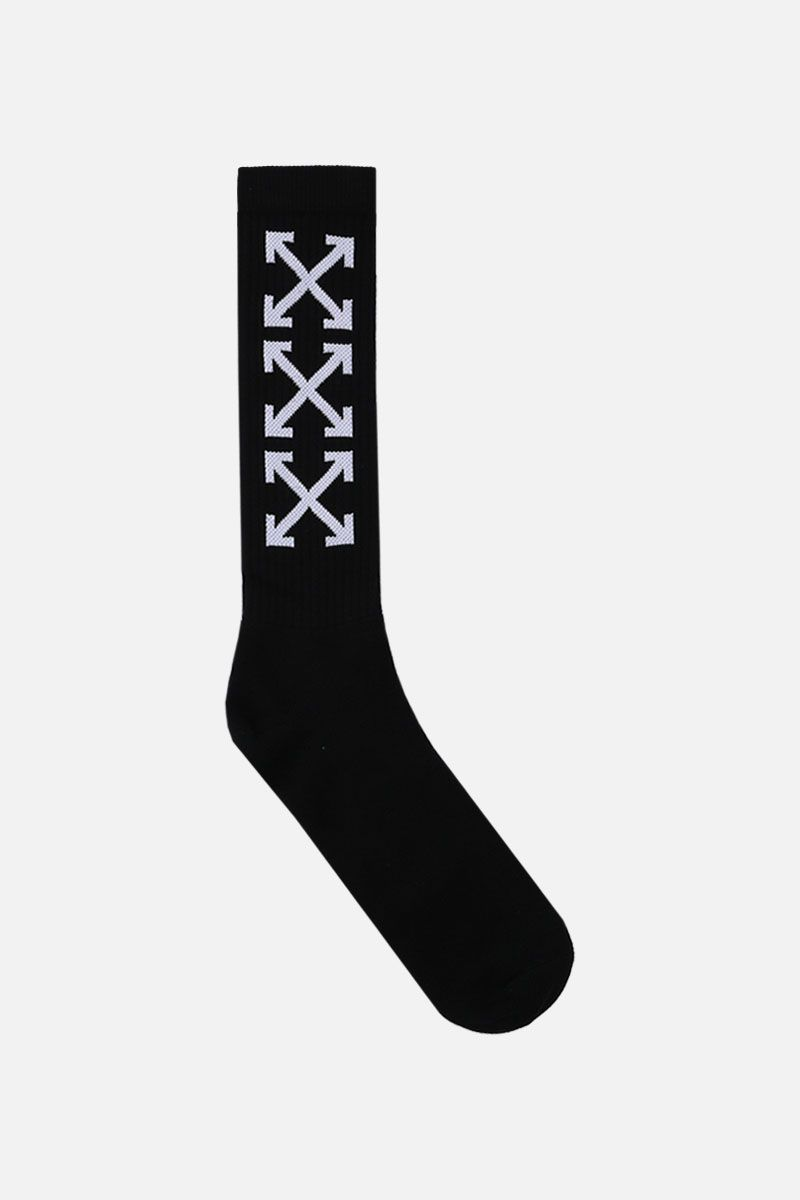 OFF WHITE: Arrow terry socks Color Black_1