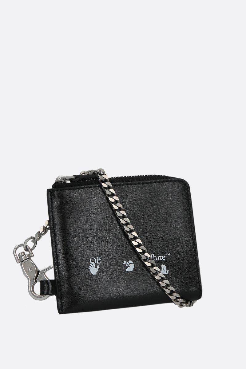 OFF WHITE: smooth leather chain wallet Color Black_2