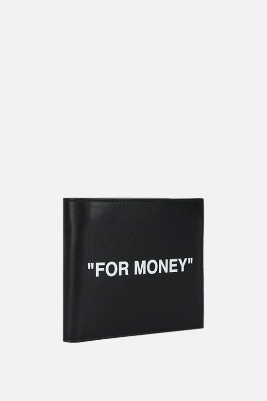 OFF WHITE: Quote smooth leather billfold wallet Color Black_2