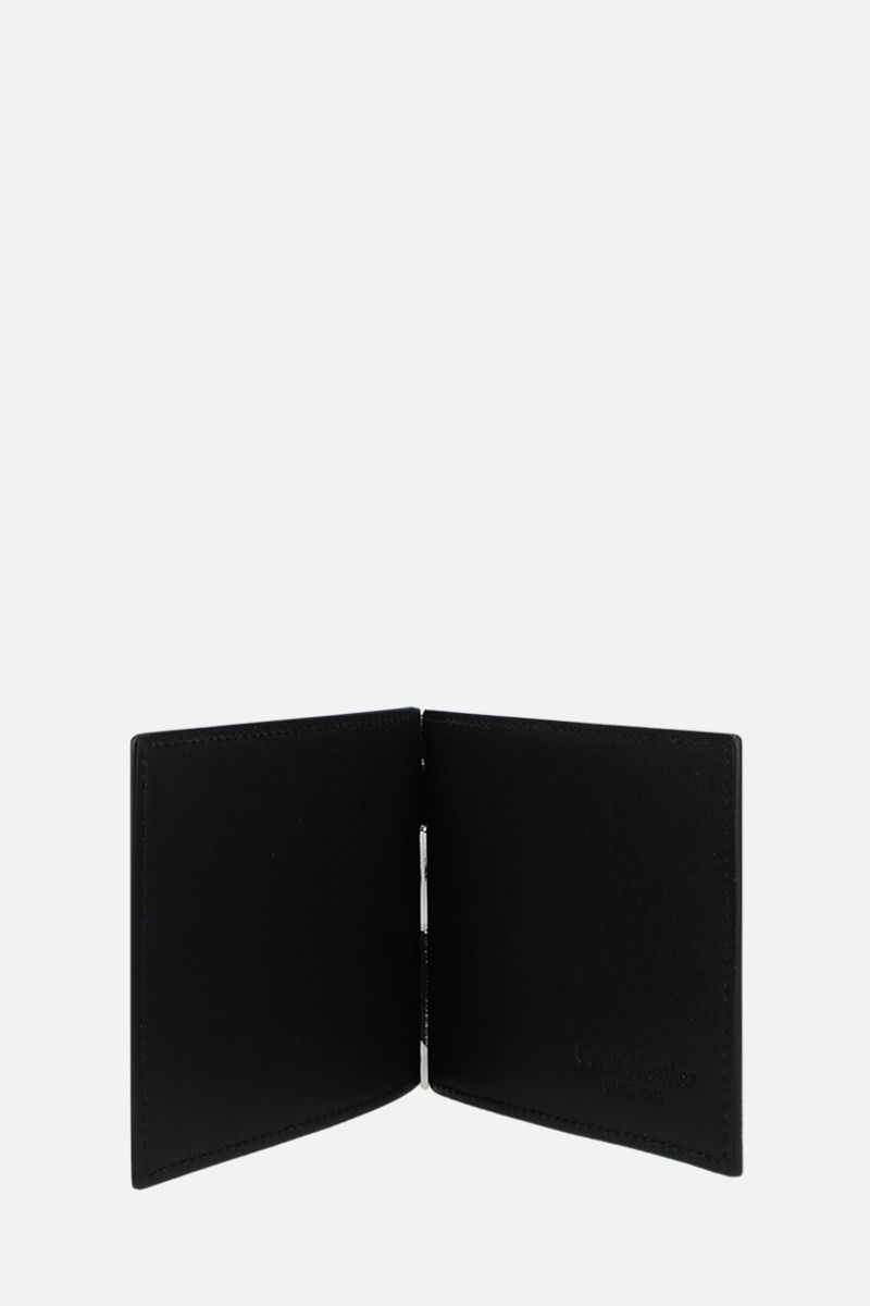 OFF WHITE: Quote smooth leather money-clip wallet Color Black_2