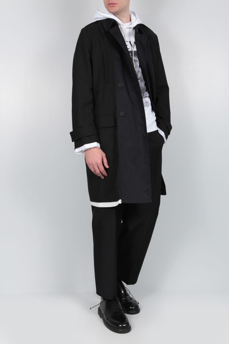 MAISON FLANEUR: wool double-breasted trench coat with cotton inserts Color Black_2