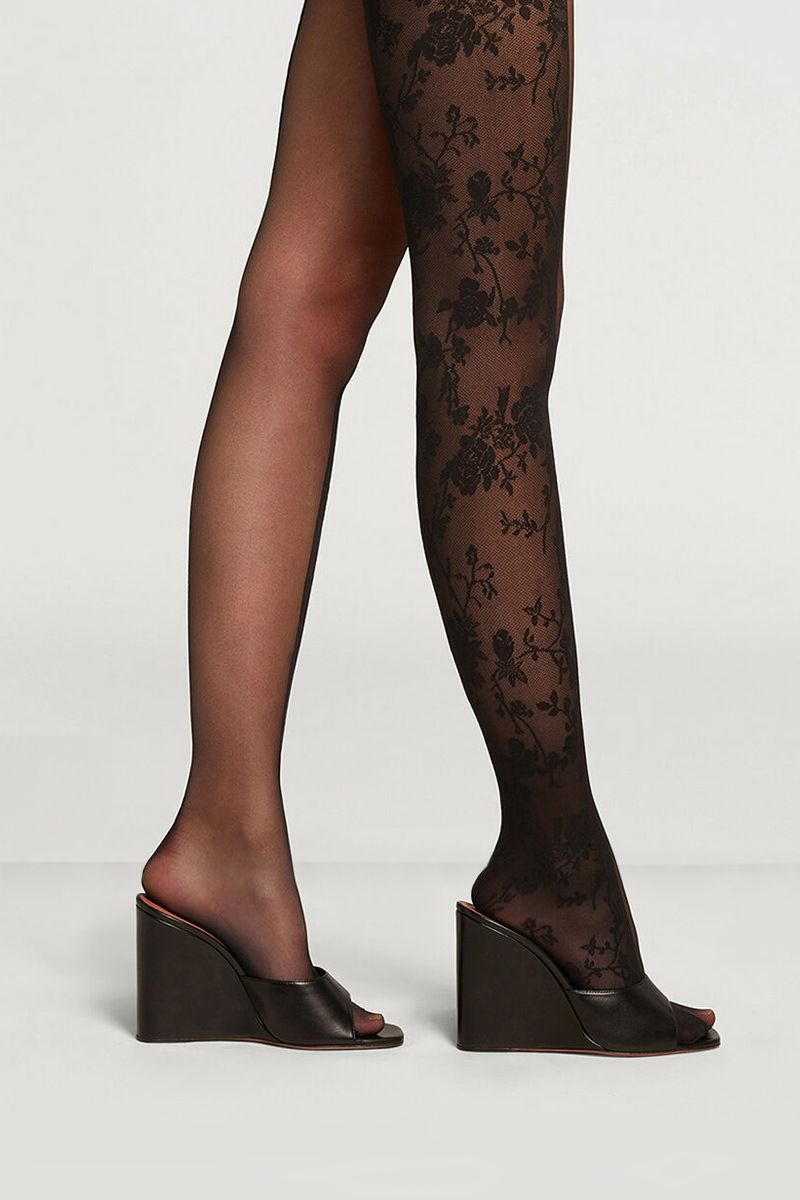 AMINA MUADDI X WOLFORD: floral lace and tulle tights Color Black_2