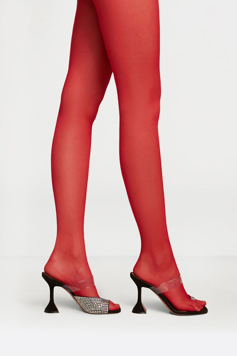 AMINA MUADDI X WOLFORD: tulle thong tights Color Red_2