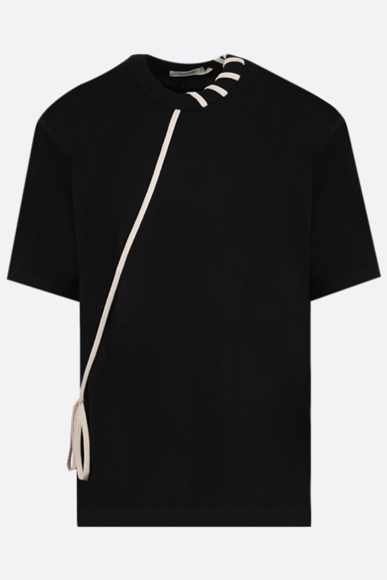CRAIG GREEN: lace-embellished cotton t-shirt Color Black_1