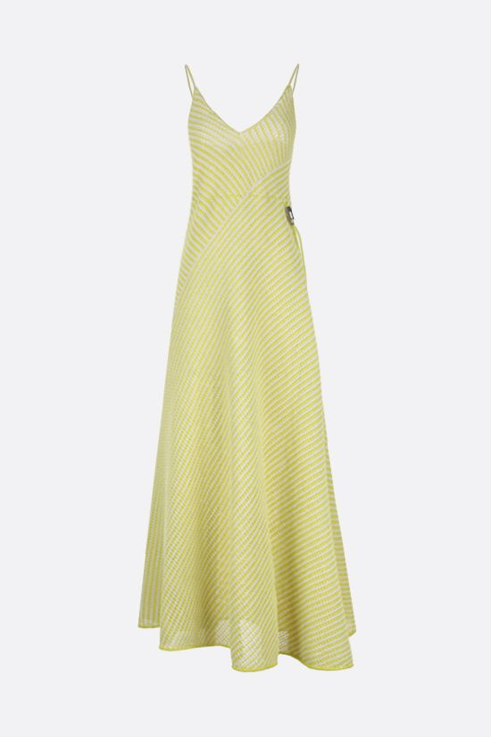 BOTTEGA VENETA: compact cotton mesh long dress Color Yellow_1