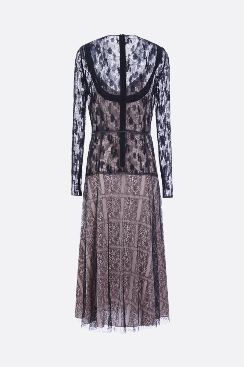 BOTTEGA VENETA: lace midi dress with pleated hem Color Multicolor_2