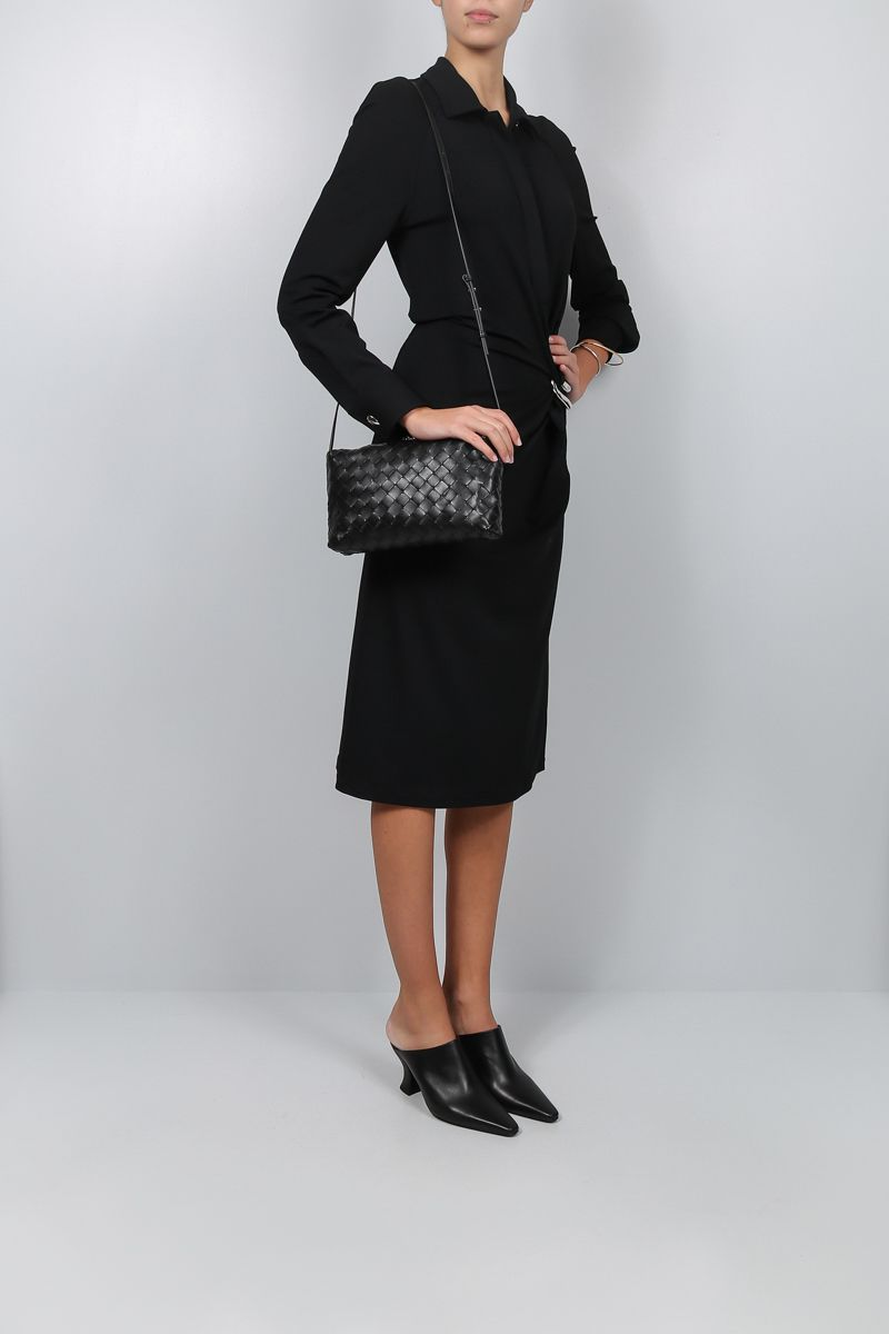 BOTTEGA VENETA: jersey crepe shirt dress Color Black_2