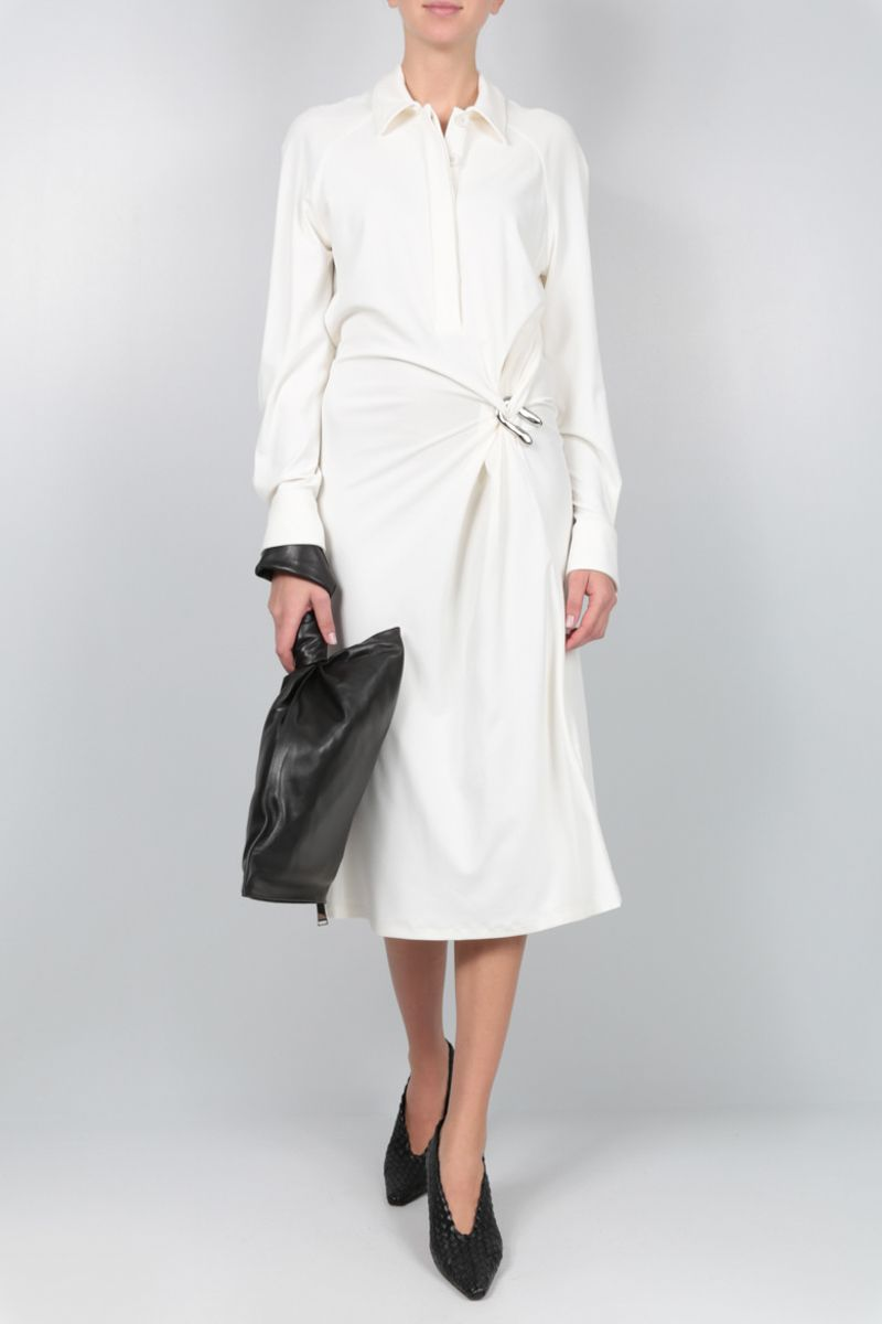BOTTEGA VENETA: jersey crepe shirt dress Color White_2