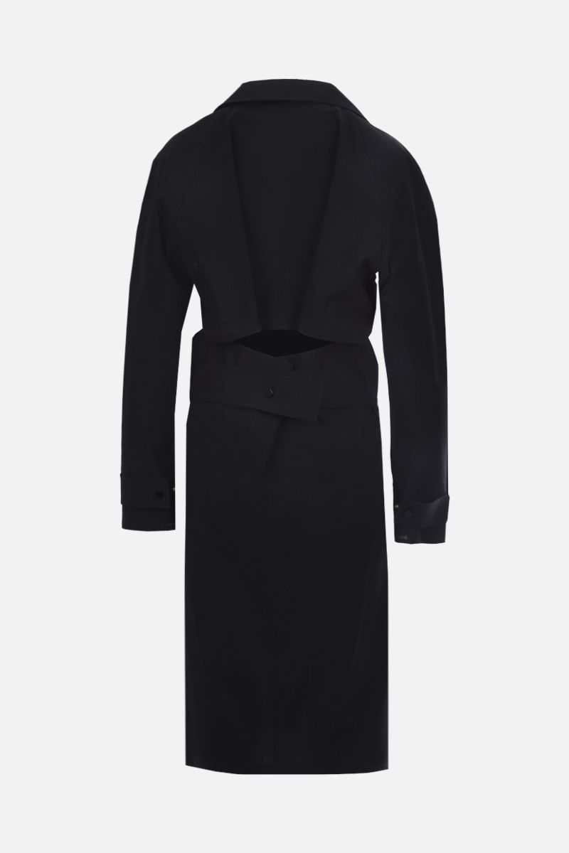 BOTTEGA VENETA: cut-out detailed technical cotton midi dress Color Black_2