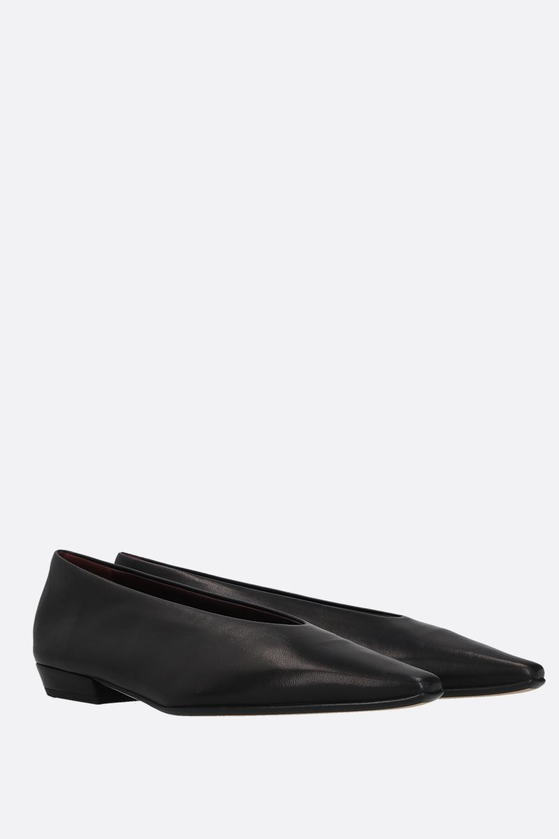 BOTTEGA VENETA: Almond soft nappa ballerinas Color Black_2