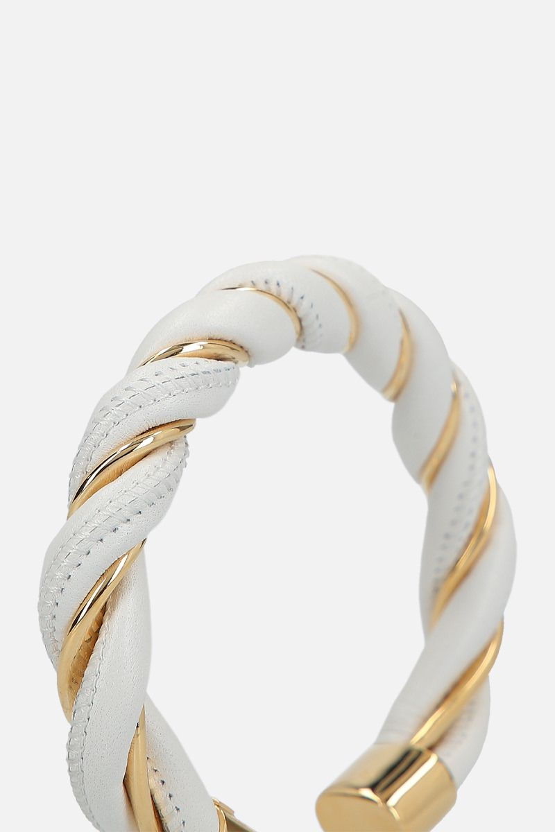 BOTTEGA VENETA: silver and nappa cuff bracelet Color White_2