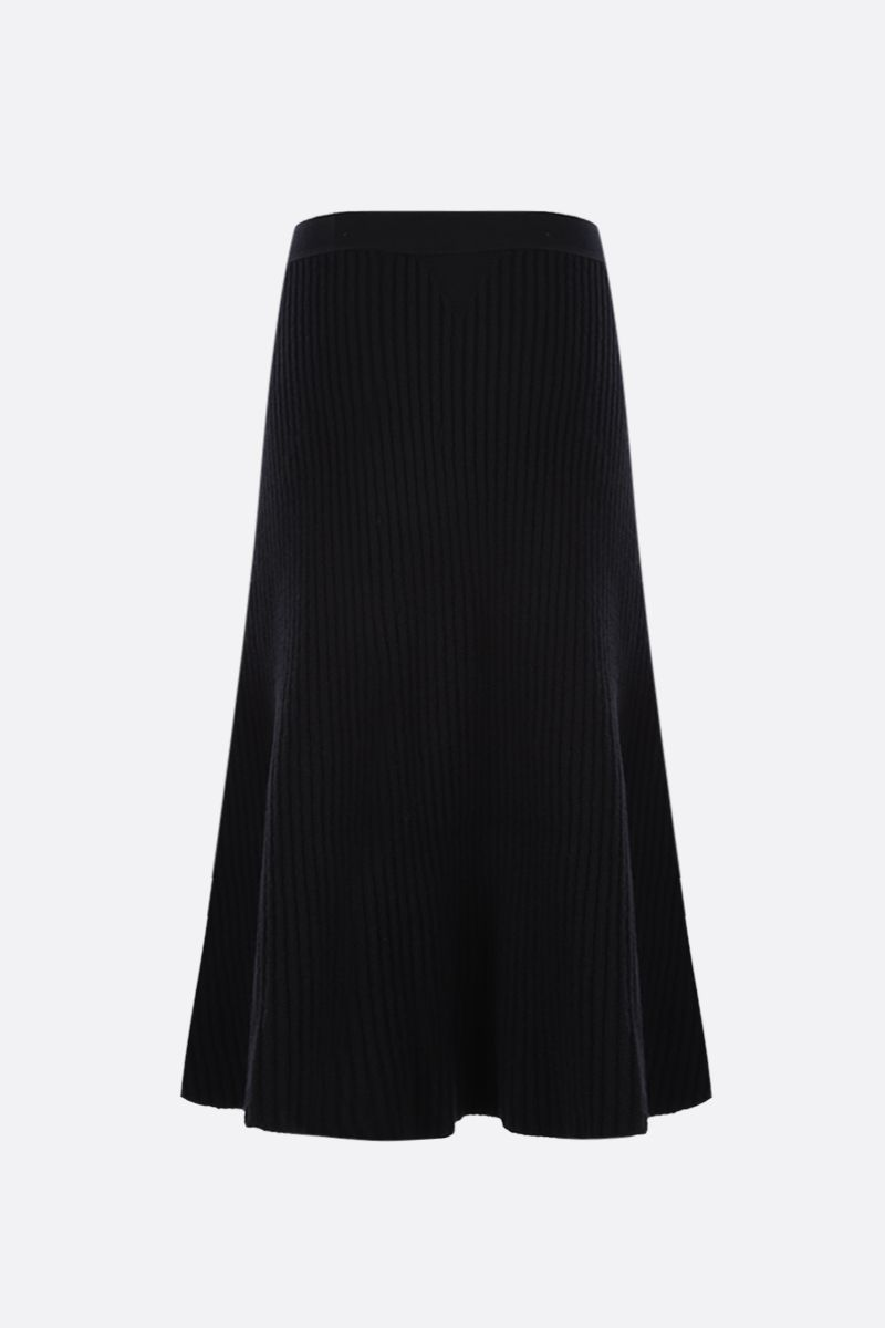 BOTTEGA VENETA: ribbed wool blend A-line skirt Color Black_2