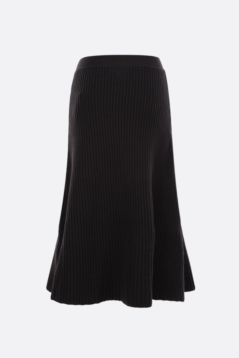 BOTTEGA VENETA: ribbed wool blend A-line skirt Color Brown_2