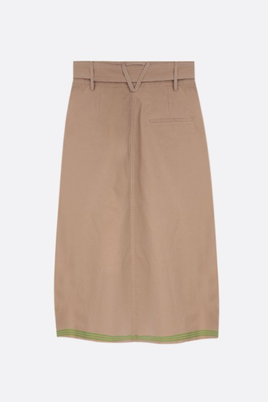 BOTTEGA VENETA: stripe-detailed cotton midi skirt Color Brown_2