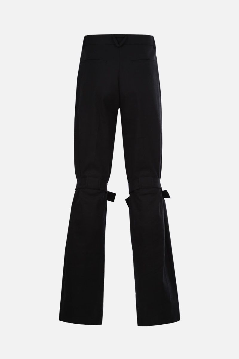 BOTTEGA VENETA: tab-detailed stretch cotton straight-fit pants Color Black_2