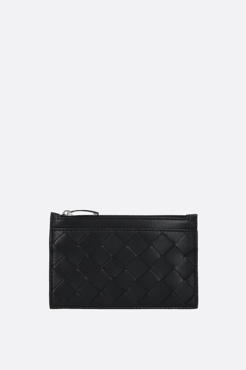 BOTTEGA VENETA: Maxi Intrecciato zipped key holder Color Black_1