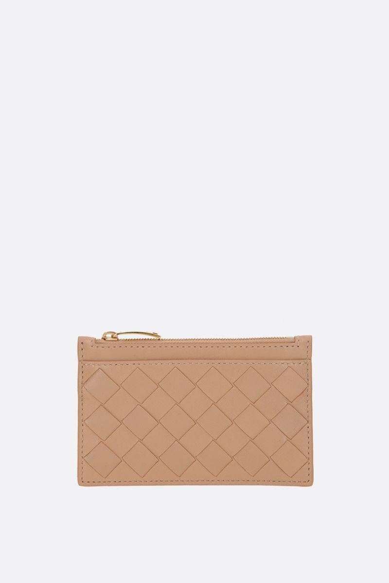 BOTTEGA VENETA: Maxi Intrecciato zipped key holder Color Neutral_1