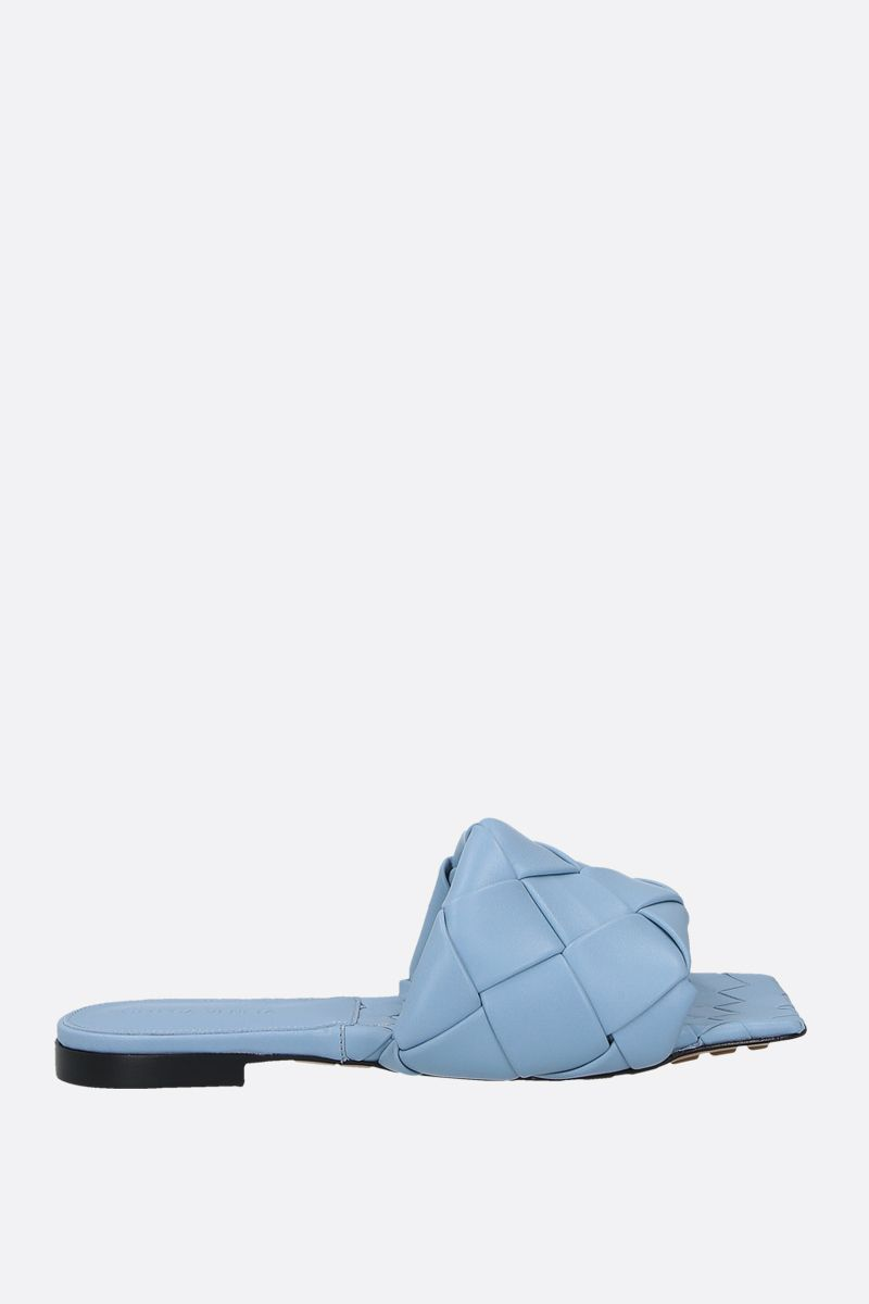 BOTTEGA VENETA: BV Lido Intrecciato nappa flat sandals Color Blue_1