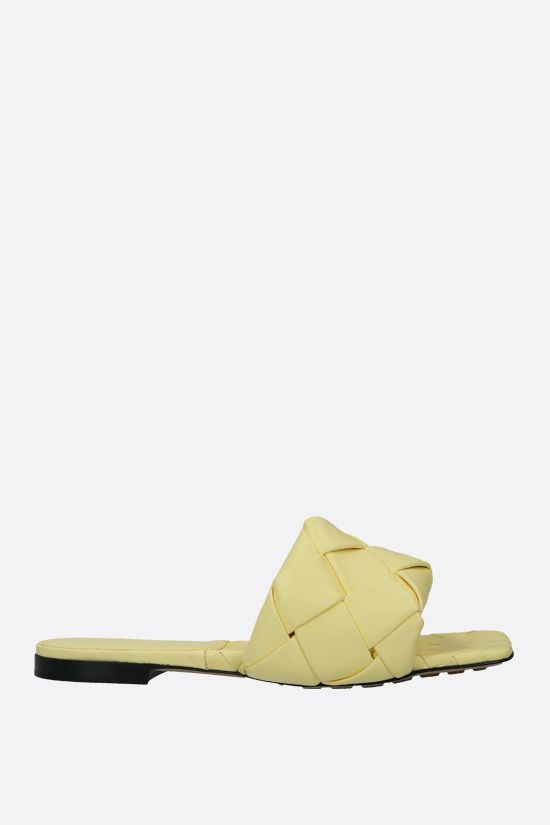 BOTTEGA VENETA: BV Lido Intrecciato nappa flat sandals Color Yellow_1