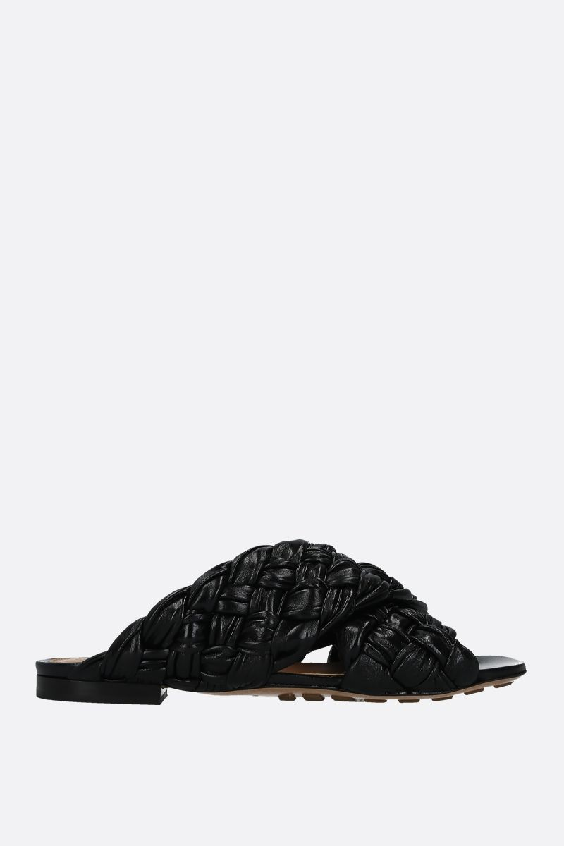 BOTTEGA VENETA: BV Board flat sandals in shiny Intrecciato nappa Color Black_1