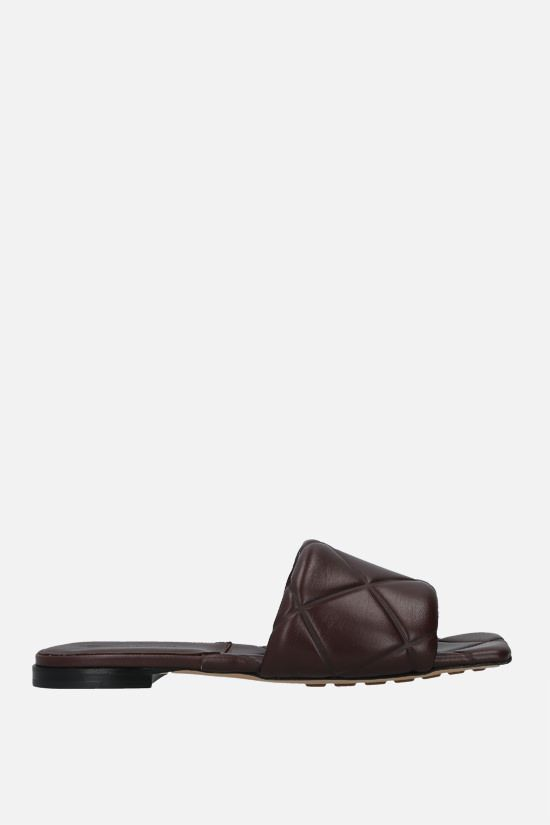BOTTEGA VENETA: The Rubber Lido quilted nappa flat sandals Color Brown_1