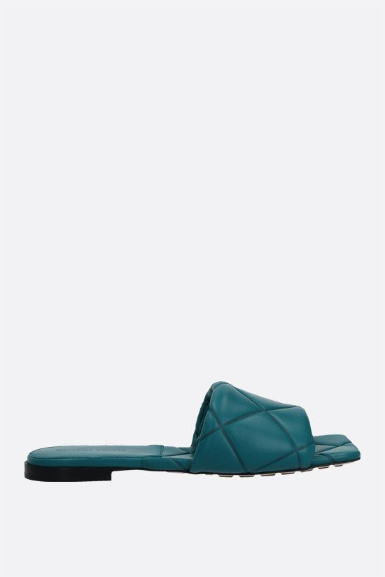 BOTTEGA VENETA: The Rubber Lido quilted nappa flat sandals Color Green_1