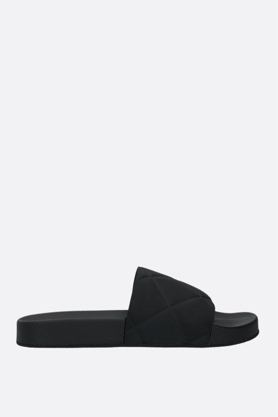 BOTTEGA VENETA: matte rubber slide sandals Color Black_1