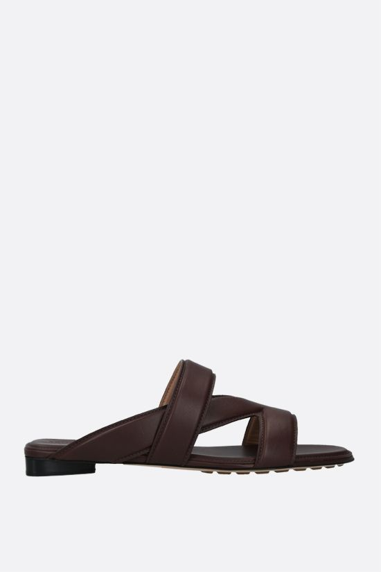 BOTTEGA VENETA: The Band smooth leather flat sandals Color Brown_1