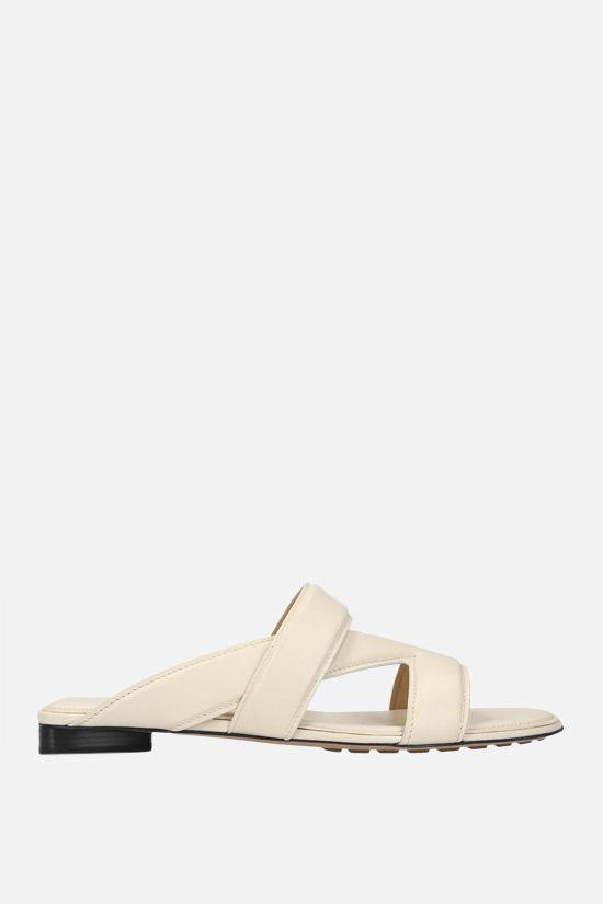 BOTTEGA VENETA: The Band smooth leather flat sandals Color Neutral_1