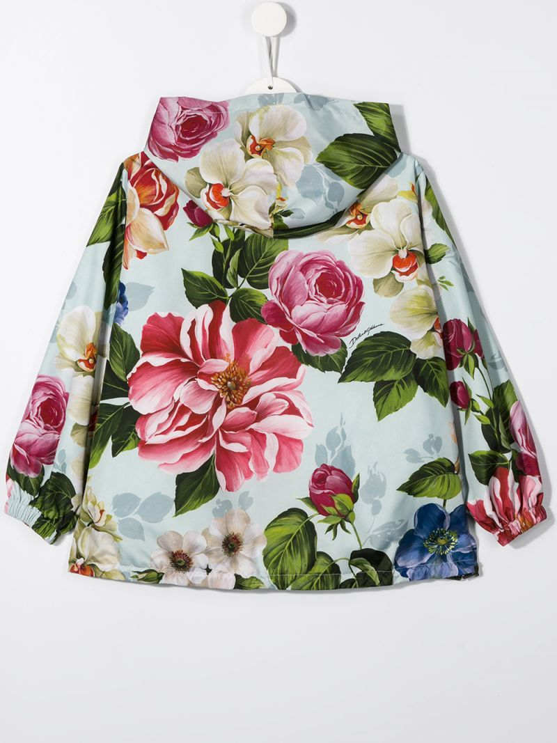 DOLCE & GABBANA CHILDREN: floral printed nylon full-zip jacket_2
