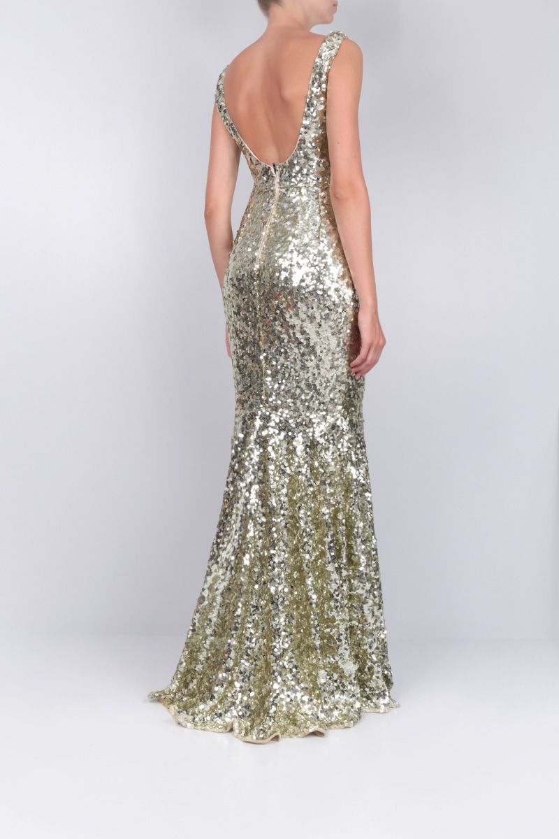 DOLCE & GABBANA: sequinned fishtail dress Color Gold_2