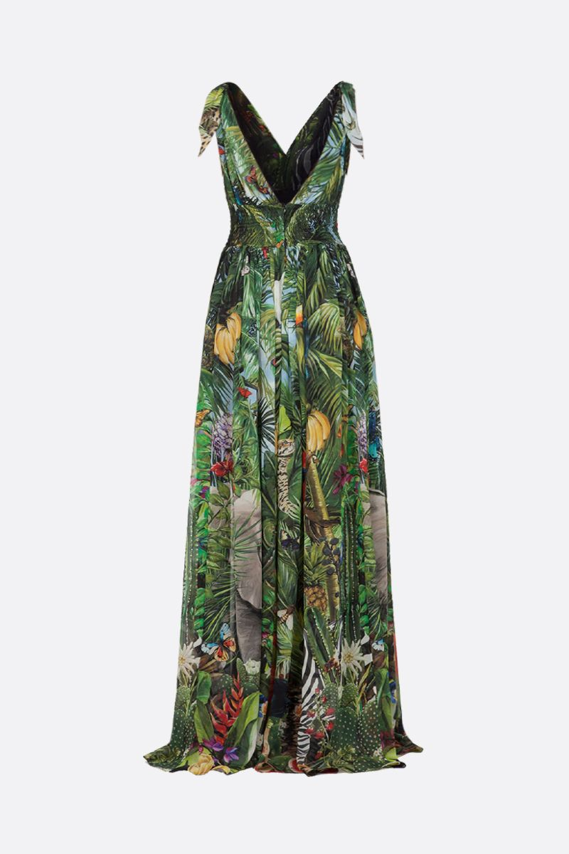 DOLCE & GABBANA: Jungle print silk long dress Color Green_2