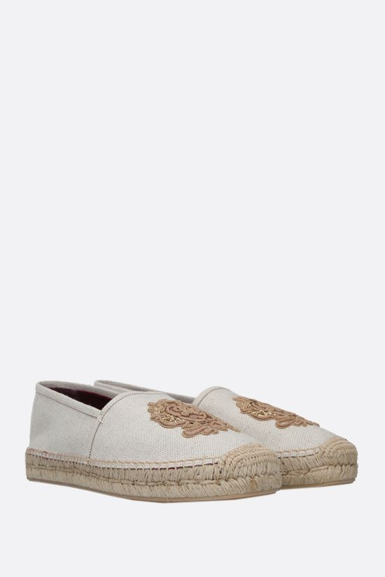 DOLCE & GABBANA: coat of arms patch canvas espadrilles Color Neutral_2