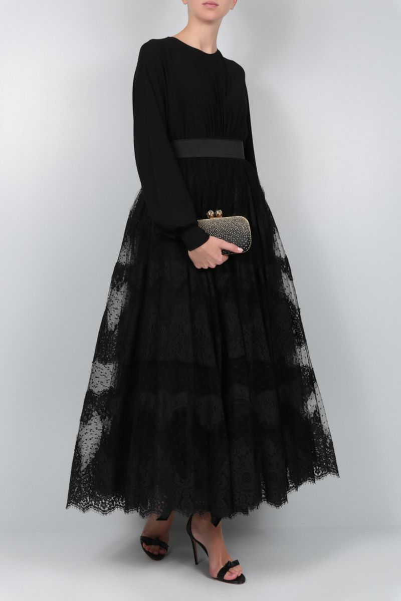 DOLCE & GABBANA: lace plumetis long skirt Color Black_2