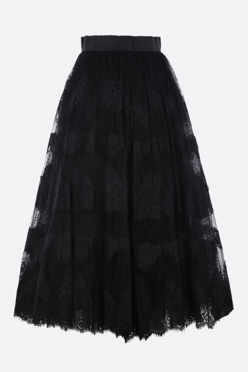 DOLCE & GABBANA: lace plumetis long skirt Color Black_3