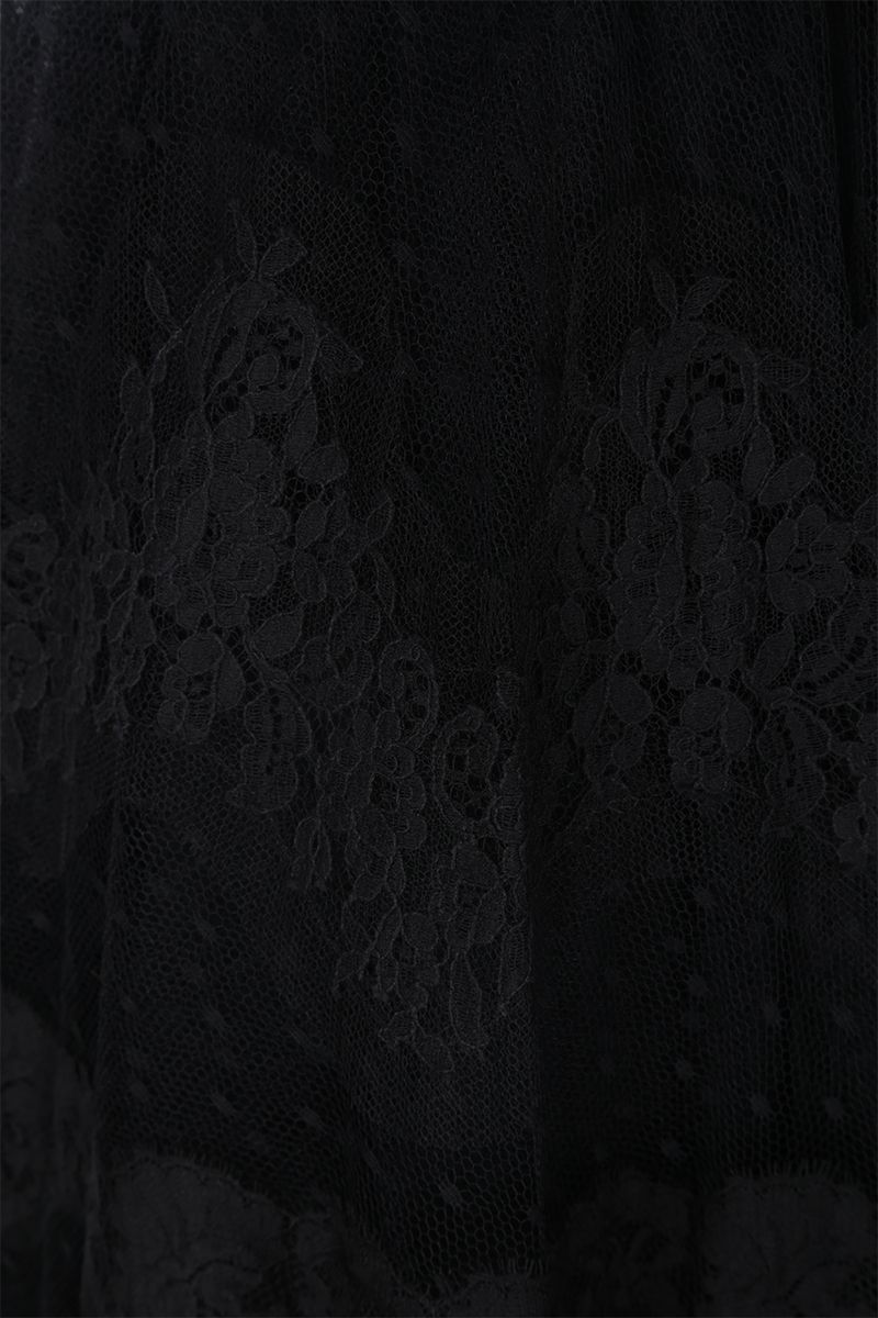 DOLCE & GABBANA: lace plumetis long skirt Color Black_4