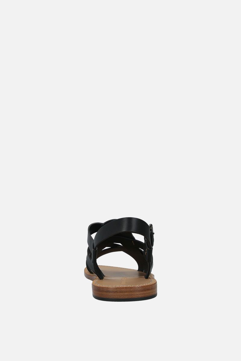 DOLCE & GABBANA: Pantheon smooth leather gladiator sandals Color Black_4