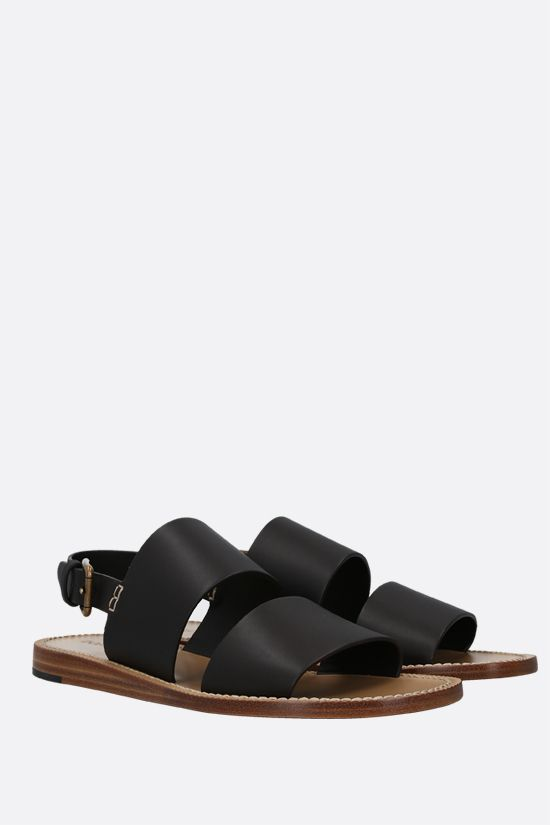 DOLCE & GABBANA: Pantheon smooth leather flat sandals Color Brown_2