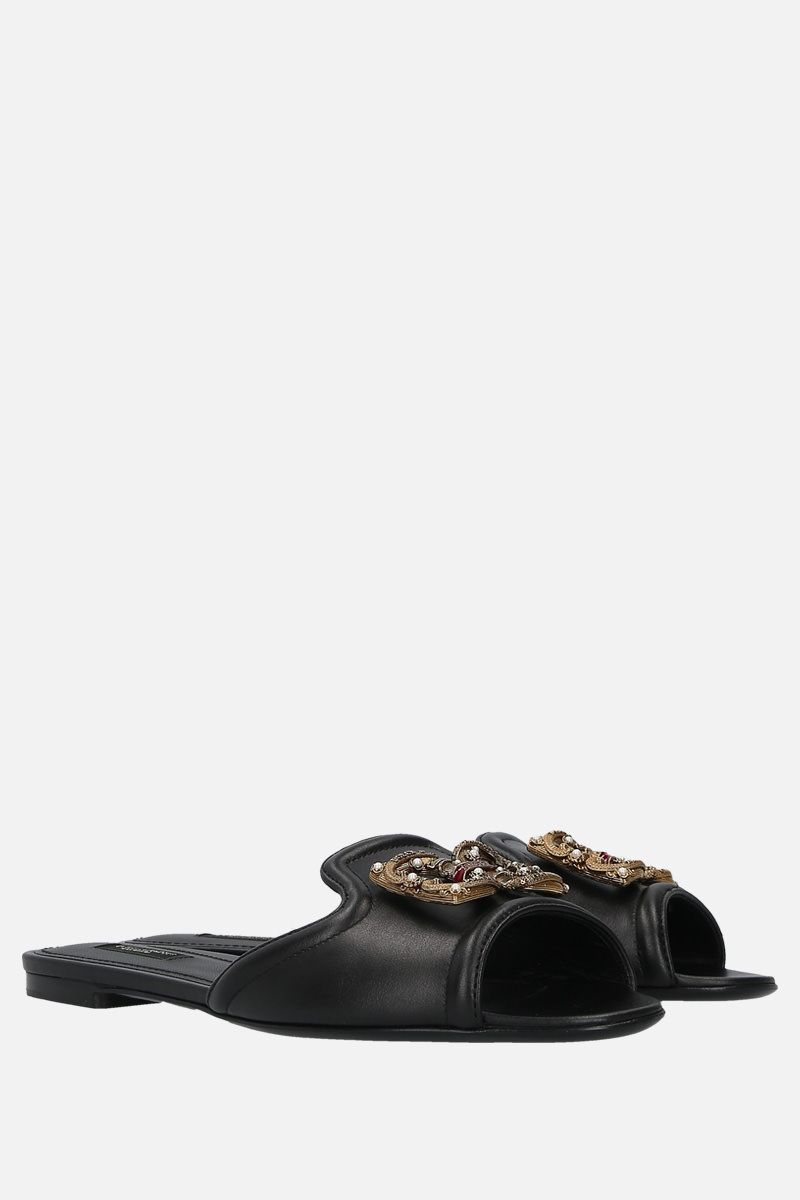 DOLCE & GABBANA: Baroque DG logo-detailed leather slide sandals Color Black_2