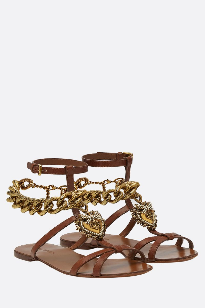 DOLCE & GABBANA: Devotion flat sandals in shiny leather Color Neutral_2