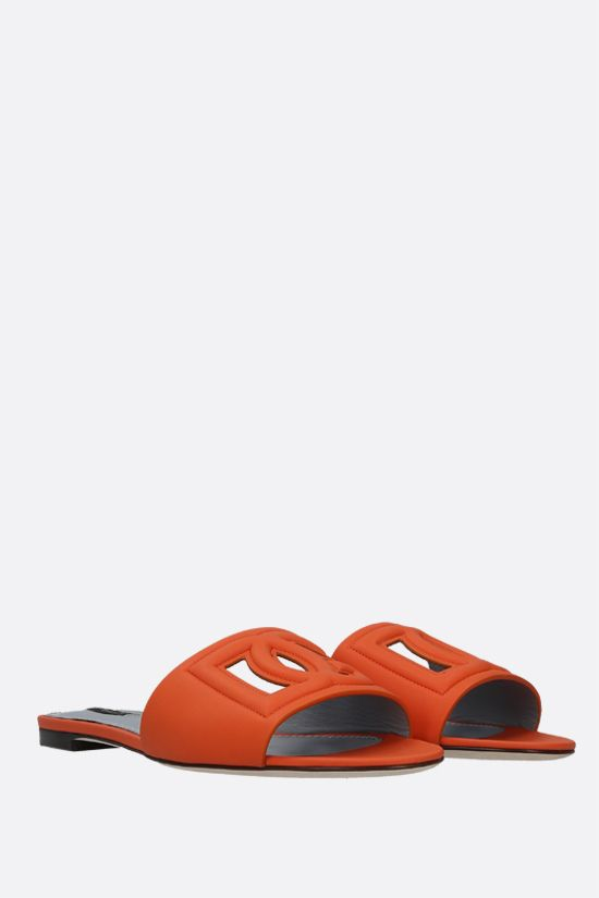 DOLCE & GABBANA: Tahiti smooth leather slide sandals Color Orange_2
