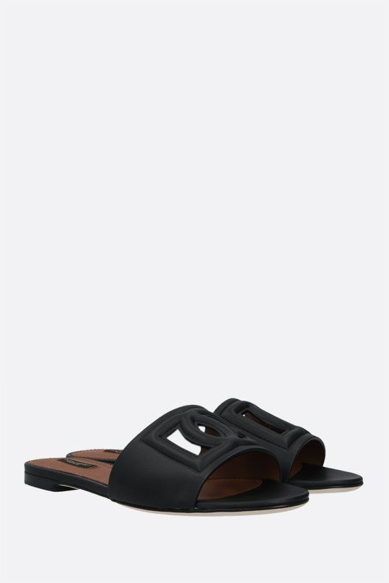 DOLCE & GABBANA: Tahiti smooth leather slide sandals Color Black_2
