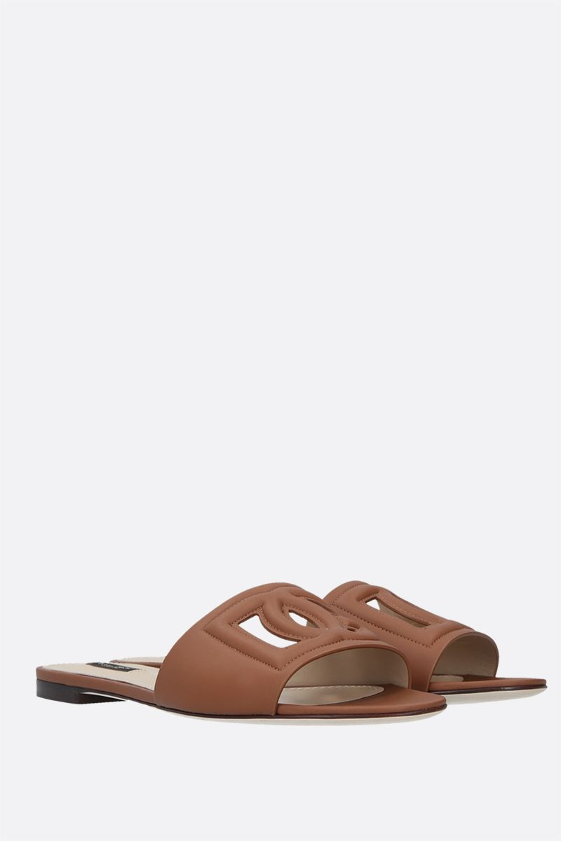 DOLCE & GABBANA: Tahiti smooth leather slide sandals Color Brown_2